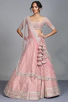 Blush Pink Embroidered Lehenga Set by Anushree Reddy-ANUSHREE REDDY