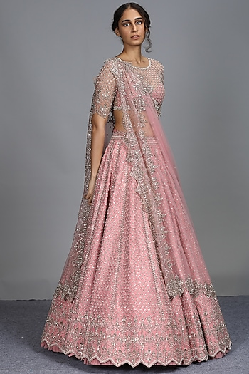 Pink Embroidered Lehenga Set by Anushree Reddy