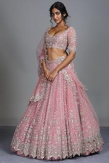 Pink Zardosi Embroidered Lehenga Set by Anushree Reddy-ANUSHREE REDDY