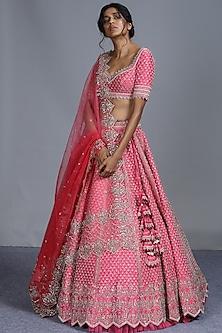 Pink Embroidered Silk Lehenga Set by Anushree Reddy-ANUSHREE REDDY