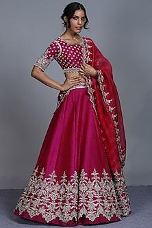 Magenta Embroidered Lehenga Set by Anushree Reddy-ANUSHREE REDDY