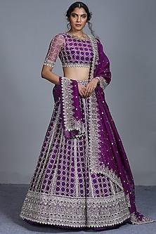 Purple Zardosi Embroidered Lehenga Set by Anushree Reddy-ANUSHREE REDDY