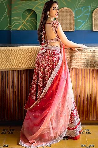 Red Embroidered Lehenga Set by Anushree Reddy