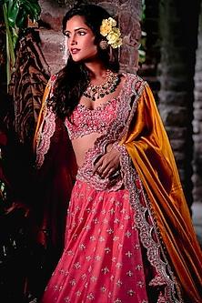 Pink Zardosi Embroidered Lehenga Set by Anushree Reddy