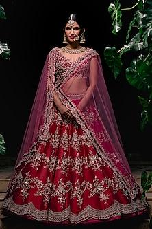 Red Zardosi Embroidered Lehenga Set by Anushree Reddy