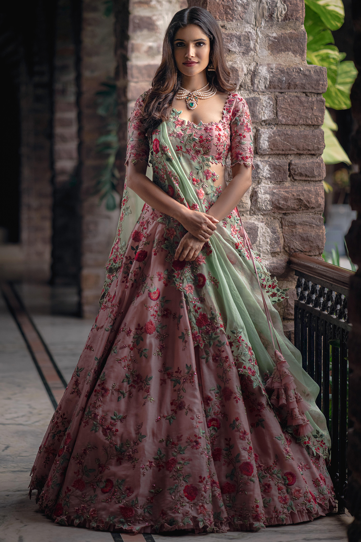 Pink Embroidered Organza Lehenga Set by Anushree Reddy
