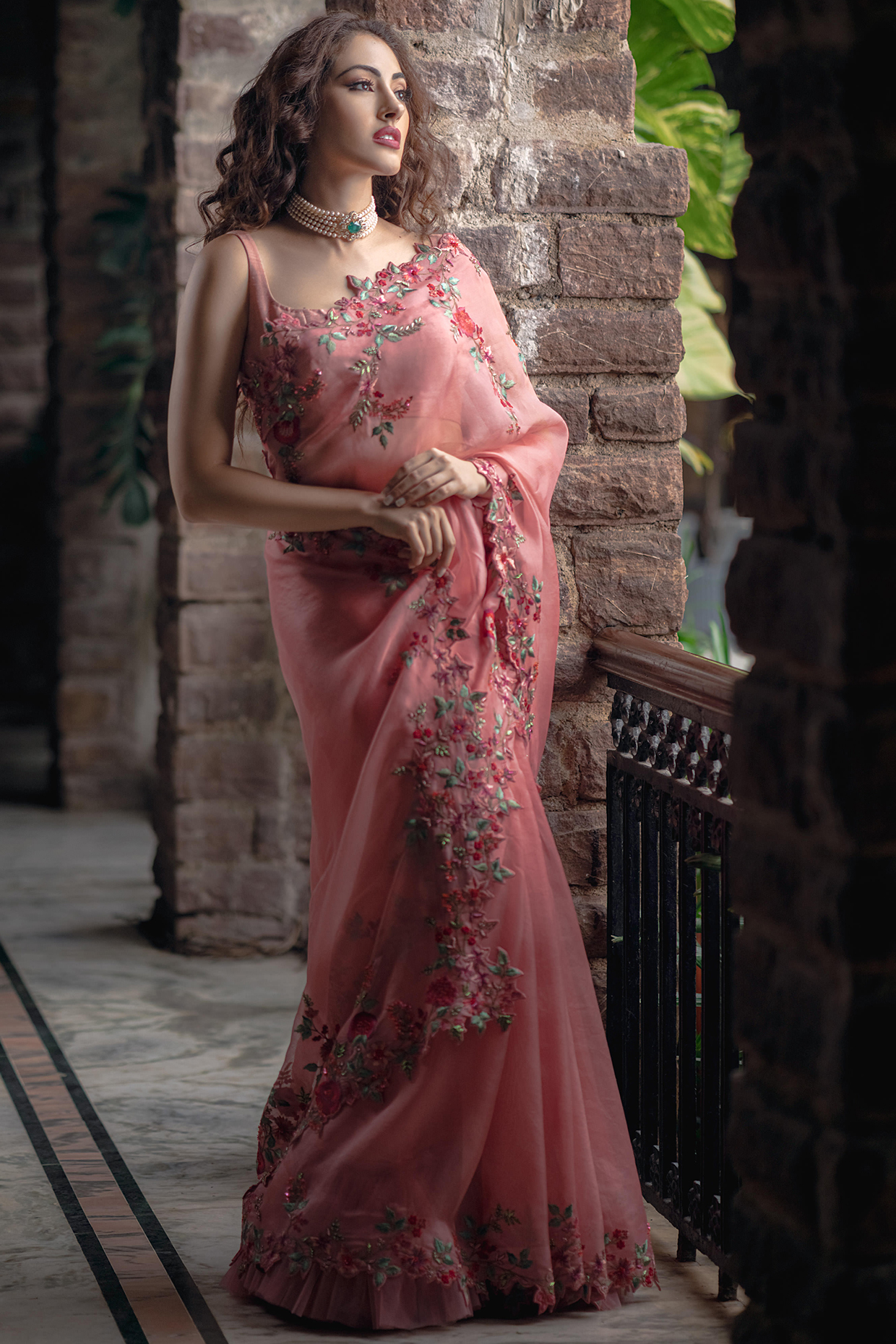 Peach Embroidered Saree Set by Anushree Reddy