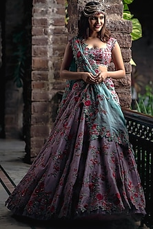 Lavender Embroidered Lehenga Set by Anushree Reddy