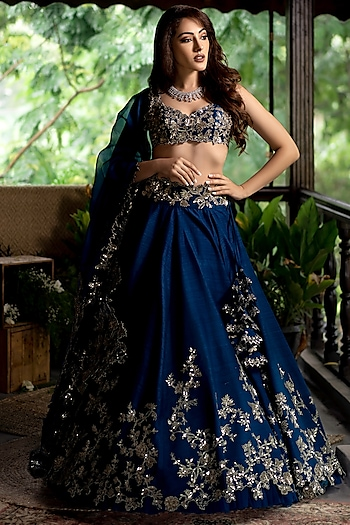 Navy Blue Sequins Embroidered Lehenga Set by Anushree Reddy