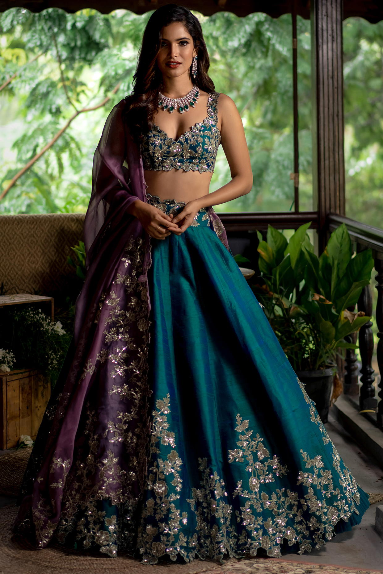 Emerald Green Embroidered Lehenga Set by Anushree Reddy