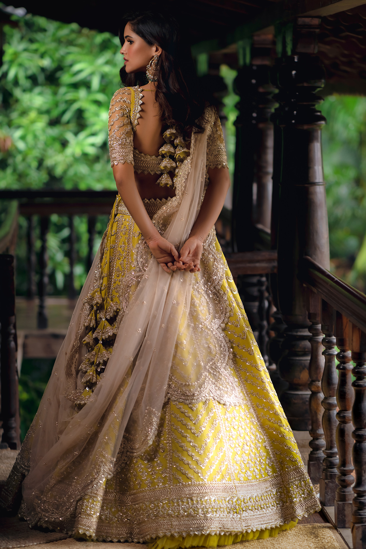Lime Yellow Embroidered Lehenga Set by Anushree Reddy
