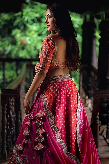 Red & Orange Embroidered Lehenga Set by Anushree Reddy