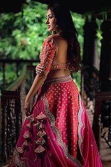 Red & Orange Embroidered Lehenga Set by Anushree Reddy