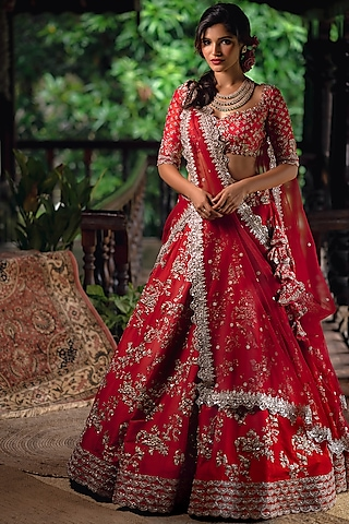 Red Embroidered Silk Lehenga Set by Anushree Reddy