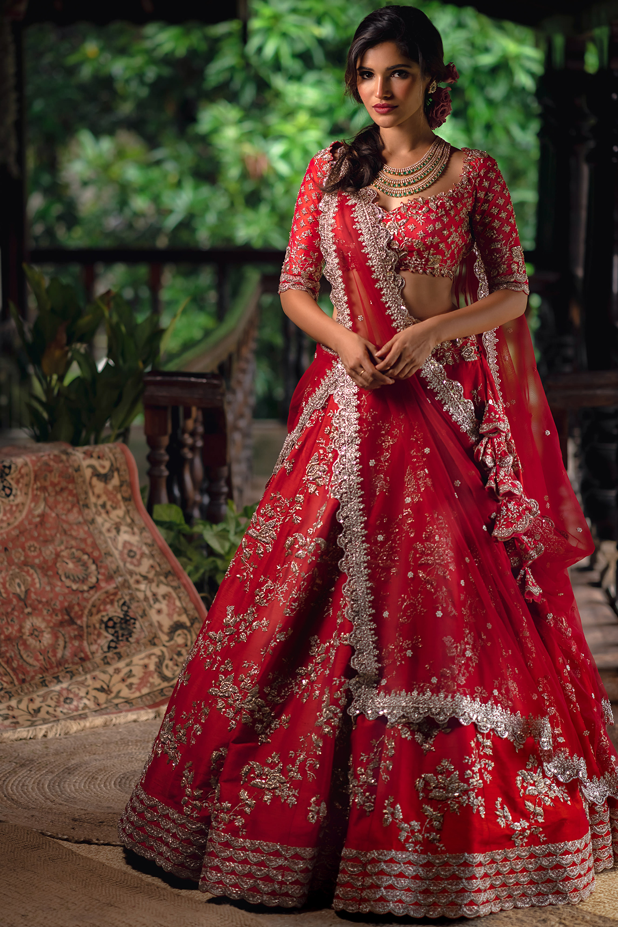 Red Embroidered Silk Lehenga Set by Anushree Reddy