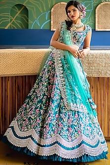 Emerald Green Lehenga Set by Anushree Reddy