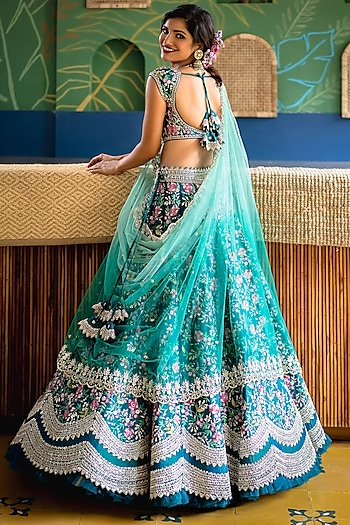 Emerald Green Lehenga Set by Anushree Reddy