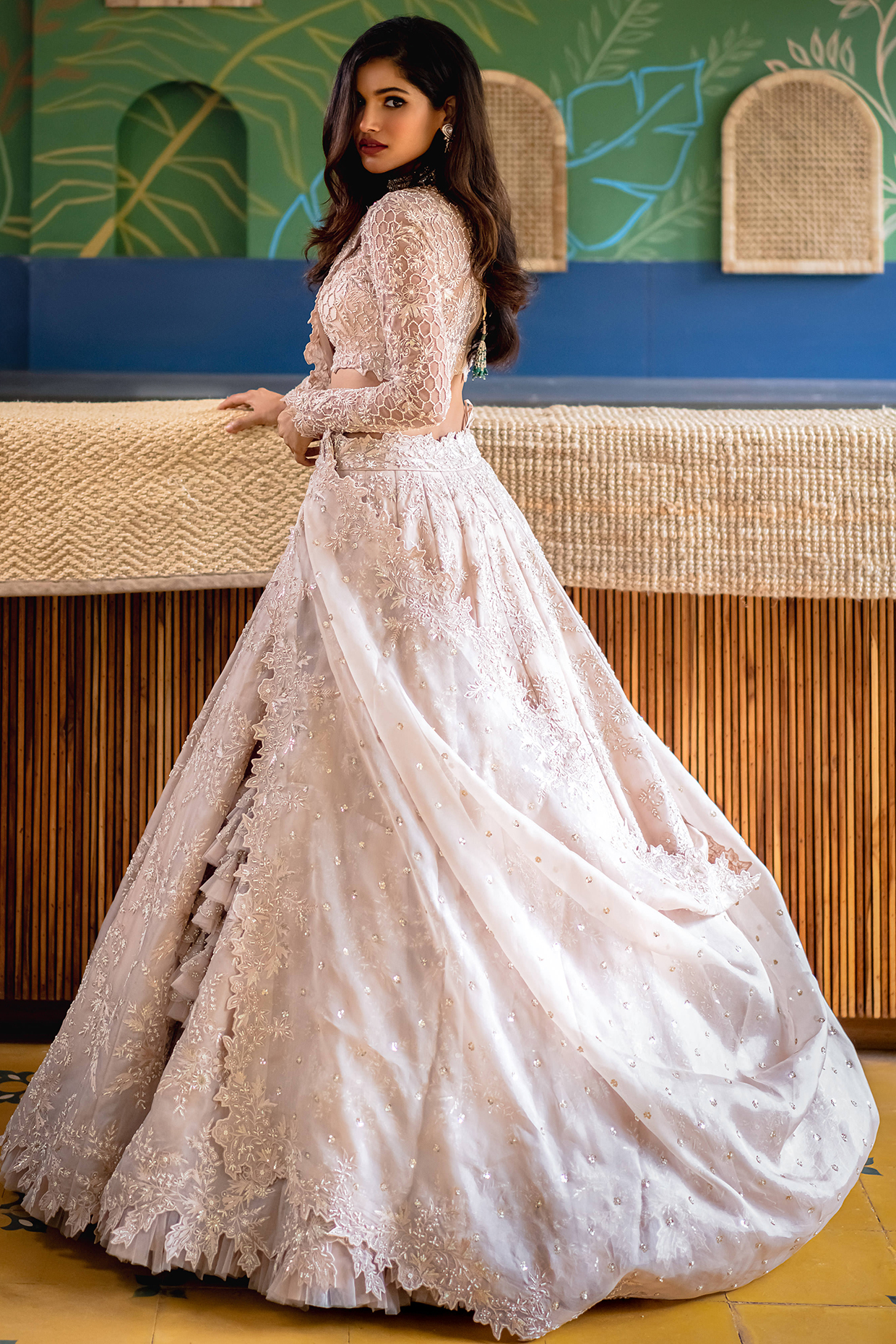 Ivory Pearl Embroidered Lehenga Set by Anushree Reddy