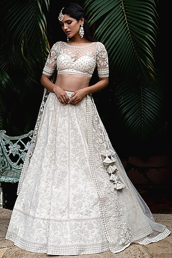 Ivory Embroidered Net Lehenga Set by Anushree Reddy