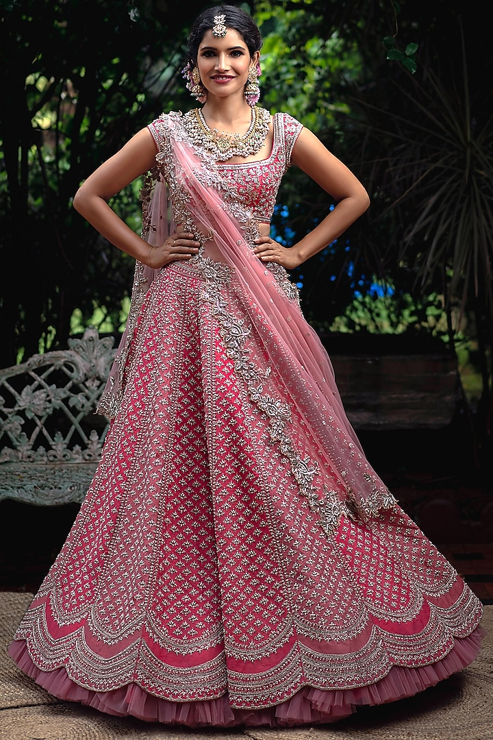 Pink Scalloped Embroidered Lehenga Set by Anushree Reddy