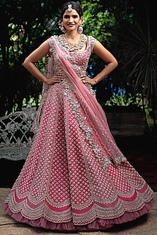Pink Scalloped Embroidered Lehenga Set by Anushree Reddy