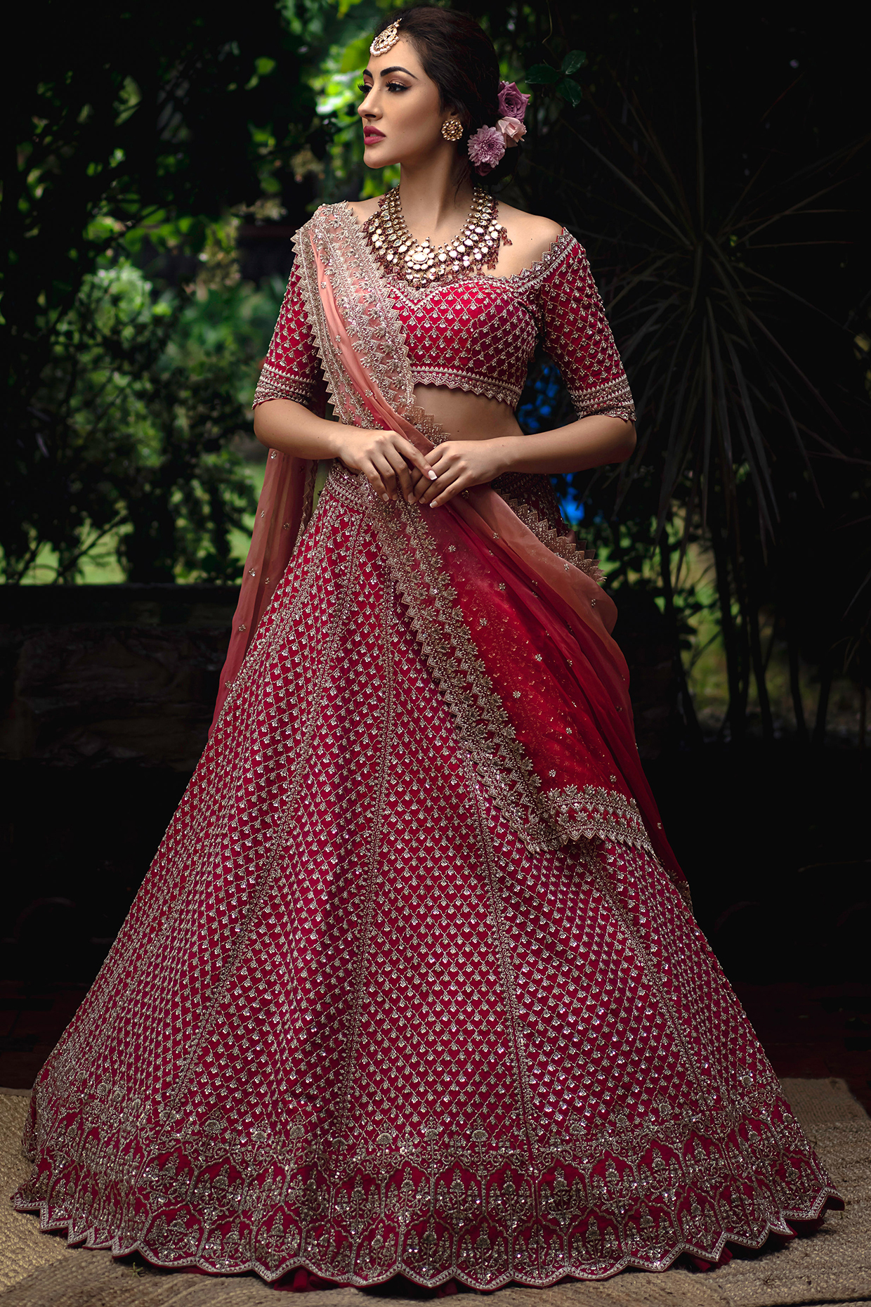 Cherry Red Embroidered Lehenga Set by Anushree Reddy