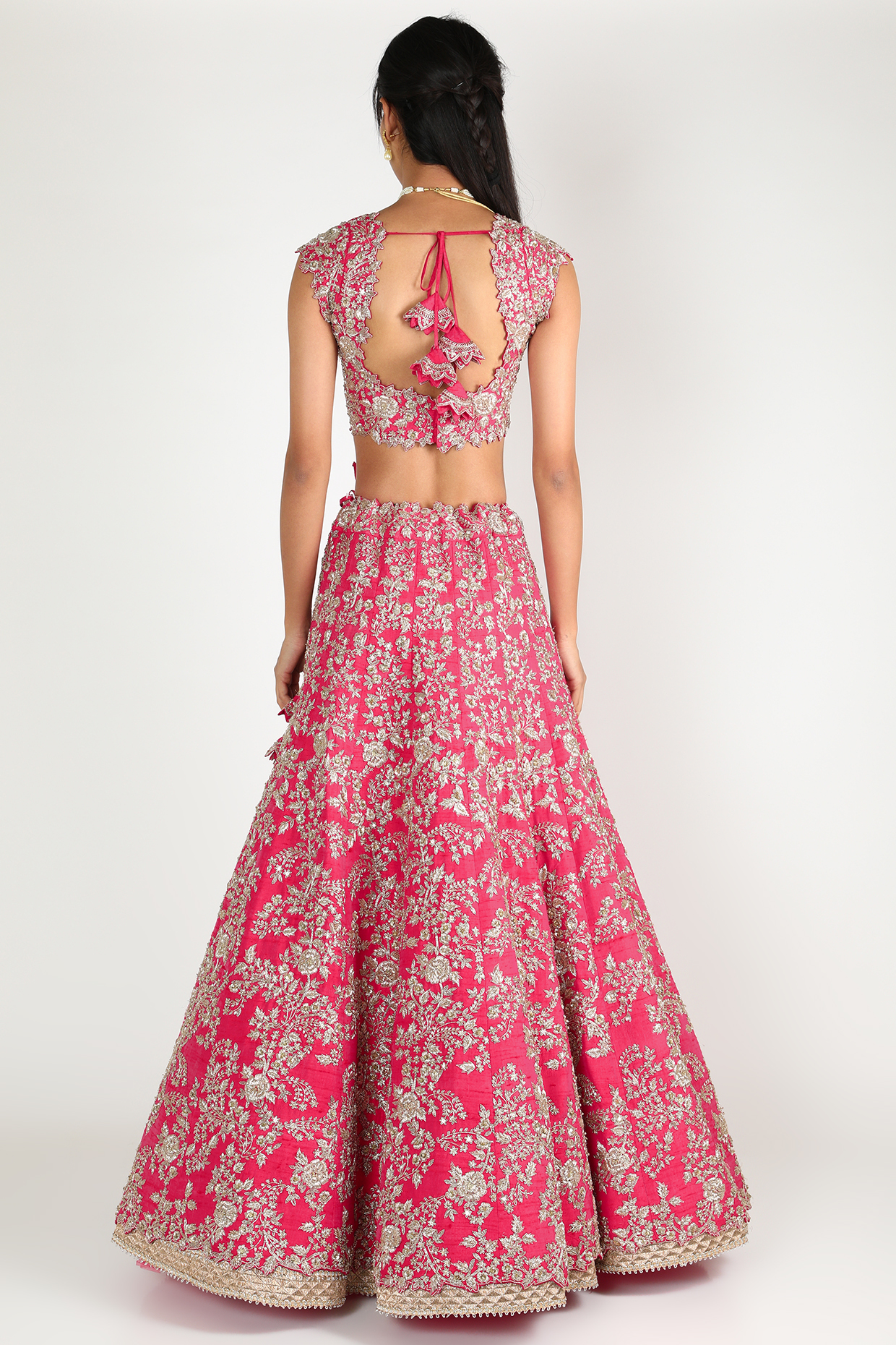 Red Embroidered Lehenga Set by Anushree Reddy
