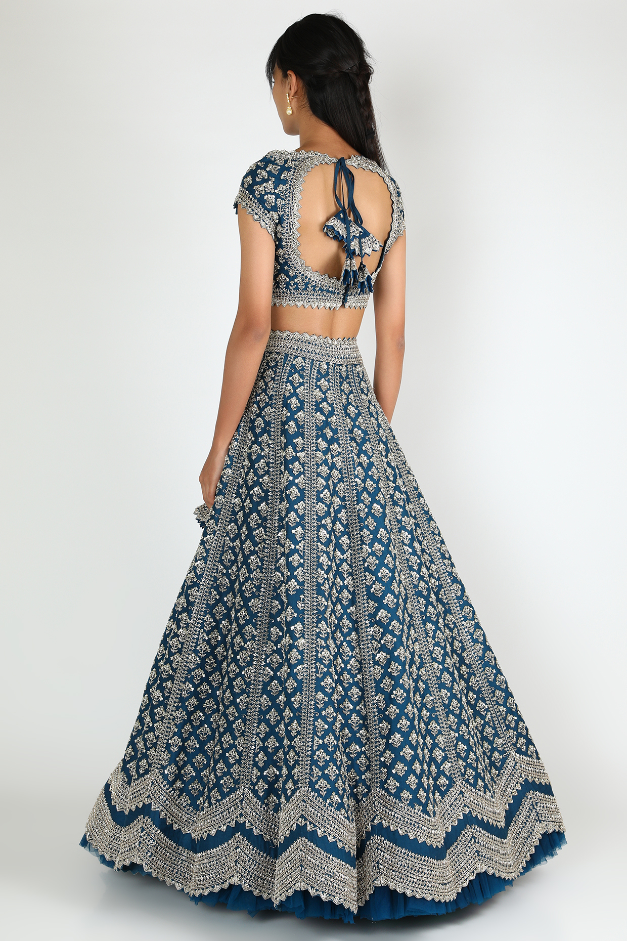 Navy Blue & Purple Embroidered Lehenga Set by Anushree Reddy