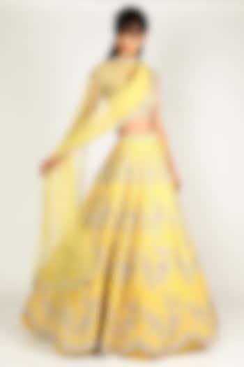 Yellow Embroidered Lehenga Set by Anushree Reddy