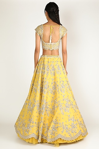 Yellow Embroidered Lehenga Set by Anushree Reddy