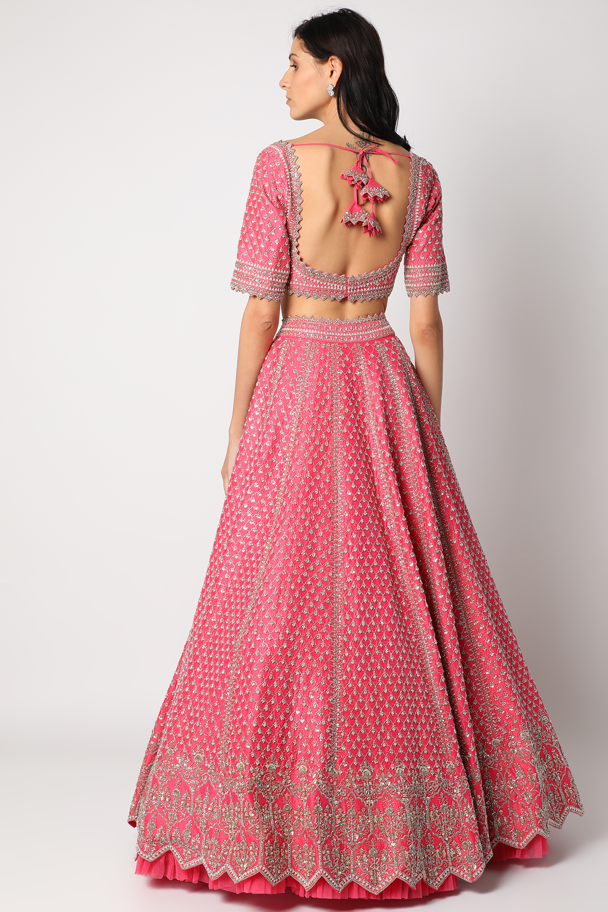 Candy Pink Lehenga Set by Anushree Reddy
