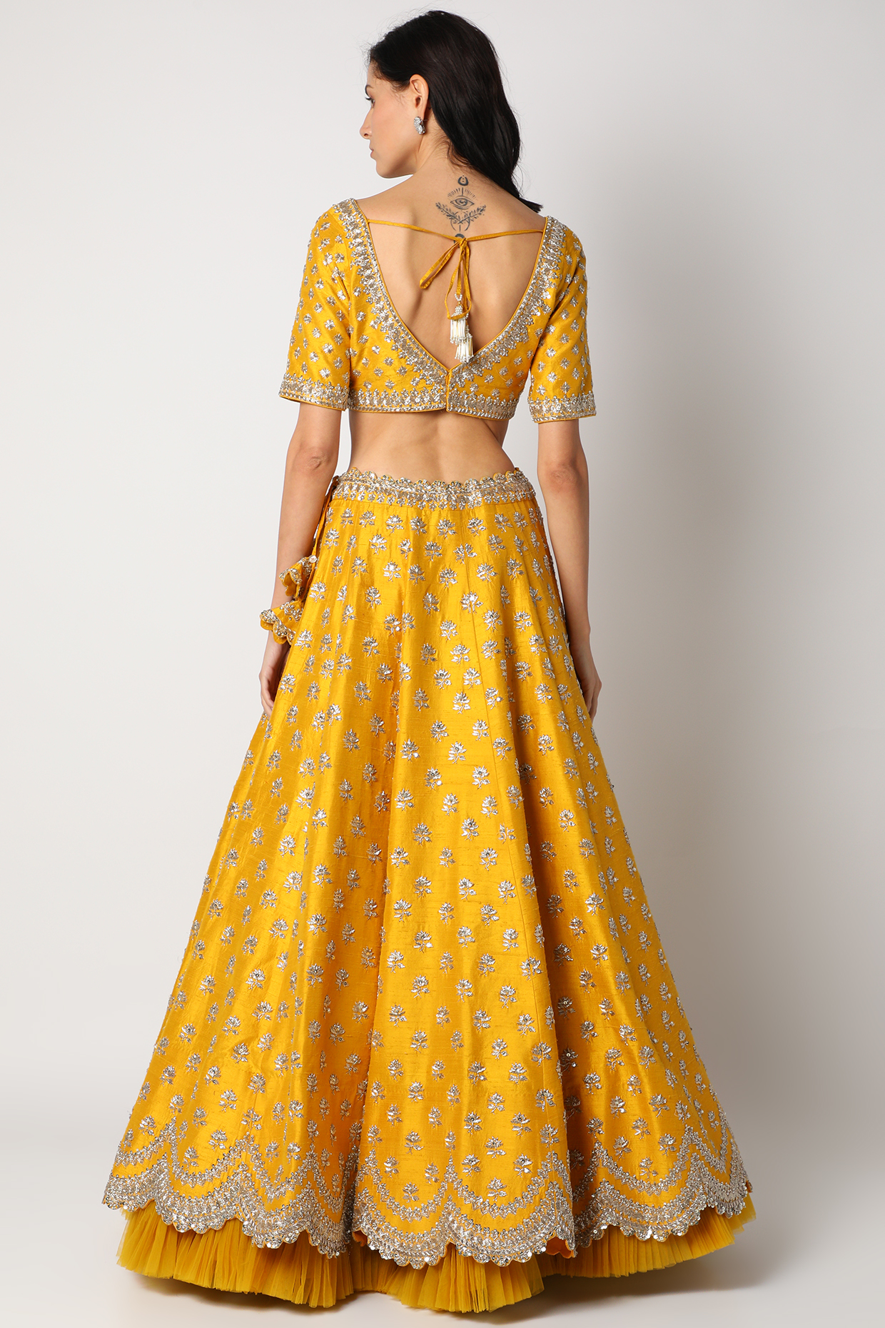 Mustard Scalloped Lehenga Set by Anushree Reddy