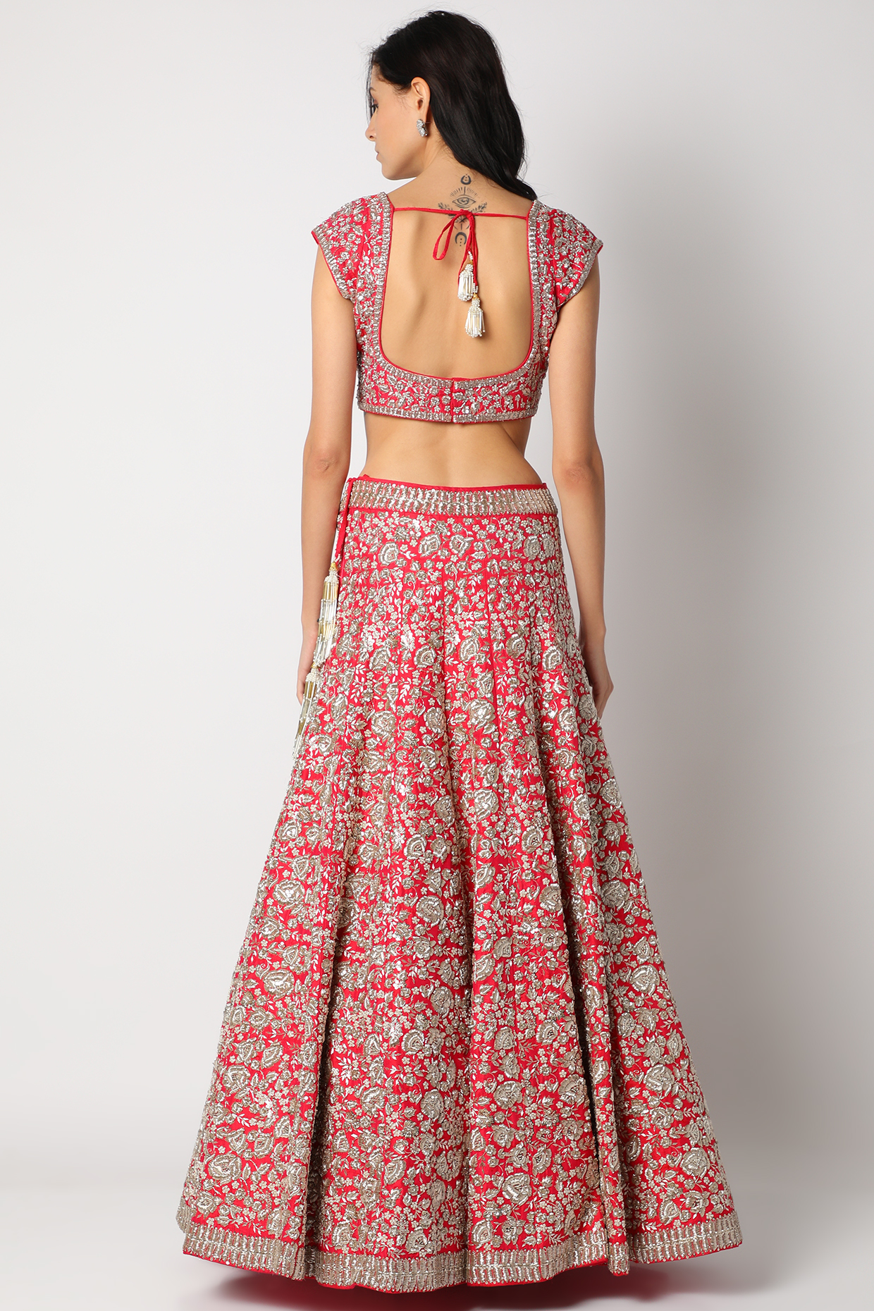 Red Zardosi Embroidered Lehenga Set by Anushree Reddy