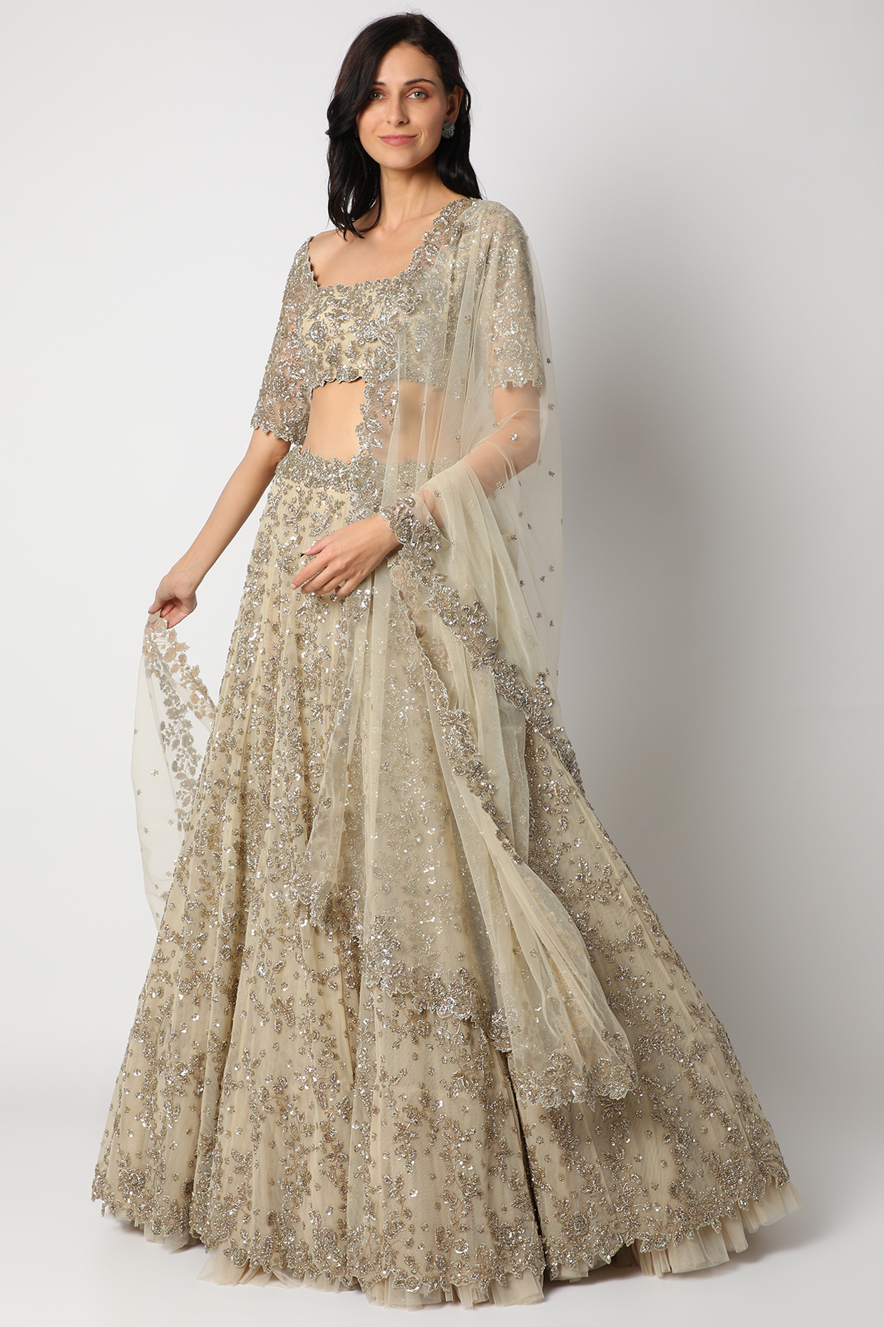 Ivory Creeper Lehenga Set With Cutdana by Anushree Reddy