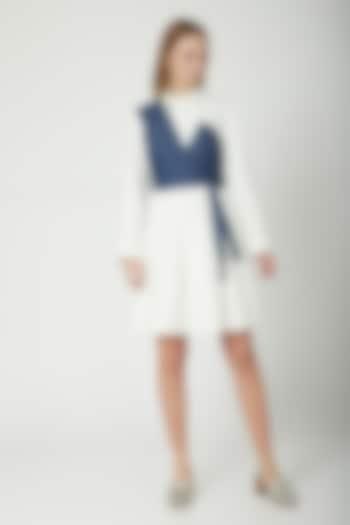 White Dress With Denim Tie-Up by Aruni