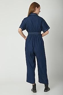 Dark Blue Notch Collared Jumpsuit by Aruni