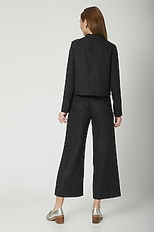Black Embroidered Corduroy Jacket by Aruni