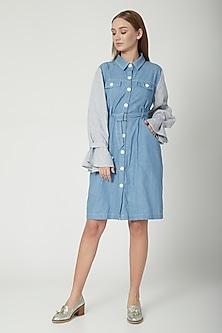 Sky Blue & Grey Shirt Dress With Belt by Aruni