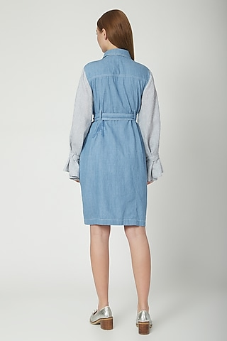 Sky Blue & Grey Shirt Dress With Belt by Aruni
