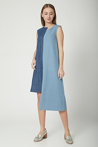 Dark & Medium Blue Denim Dress by Aruni