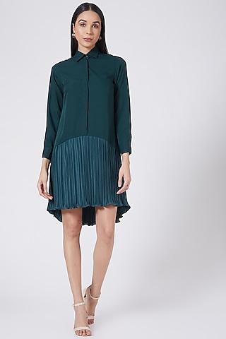Green Mini Shirt Dress by Aruni
