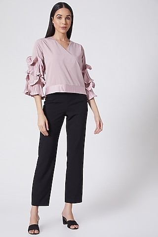 Mauve Crepe Pleated Top by Aruni