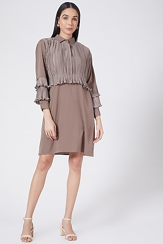 Brown Front Pleated Mini Dress by Aruni