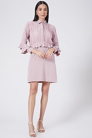 Mauve Pleated  Mini Shirt Dress by Aruni