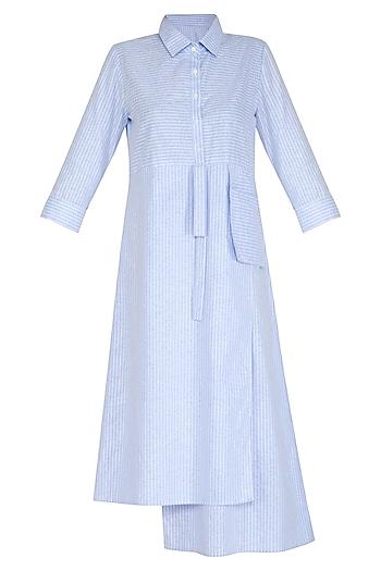 Blue Striped Shirt Dress by Aruni