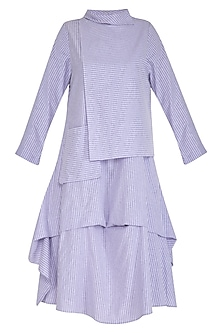 Purple Striped Flap Dress by Aruni