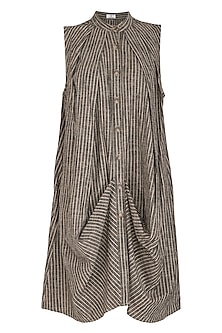 Brown Striped Cowl Dress by Aruni