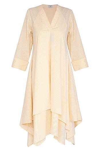 Yellow Striped Layered Dress by Aruni
