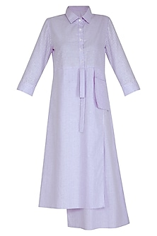 Purple Striped Shirt Dress by Aruni