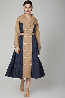 Brown & Cobalt Blue Jacket Dress With Tie-Up by Aruni